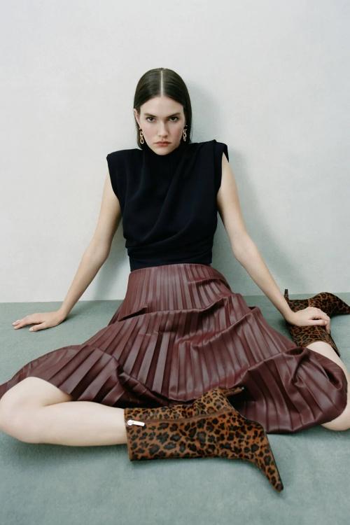 Zara - Jupe plissée cuir synthétique