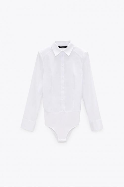 Zara - Body en popeline avec épaulettes