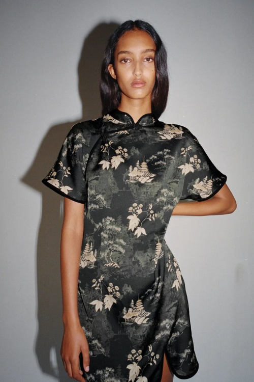 Zara - Robe imprimée à brandebourgs