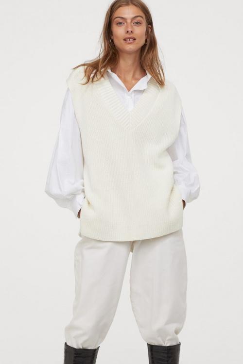 H&M - Pull sans manches côtelé