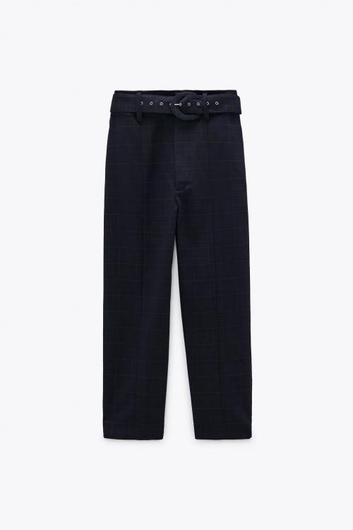 Zara - Pantalon à carreaux et ceinture