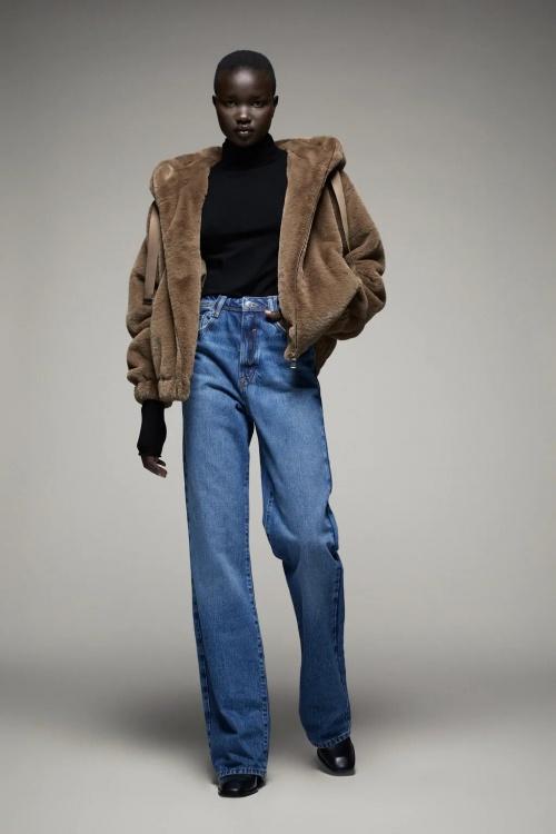 Zara - Blouson à capuche effet fourrure