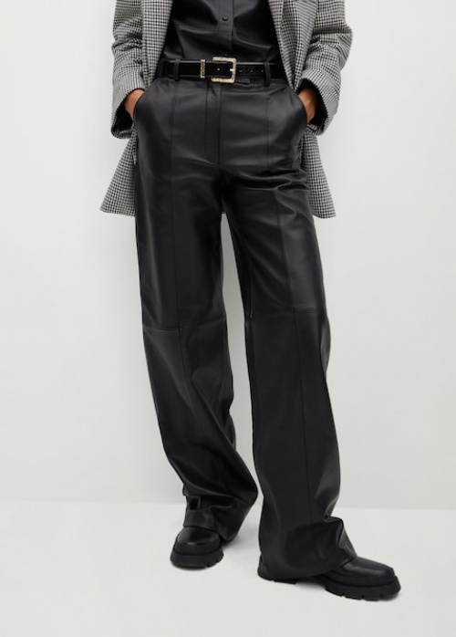 Mango - Pantalon droit en cuir