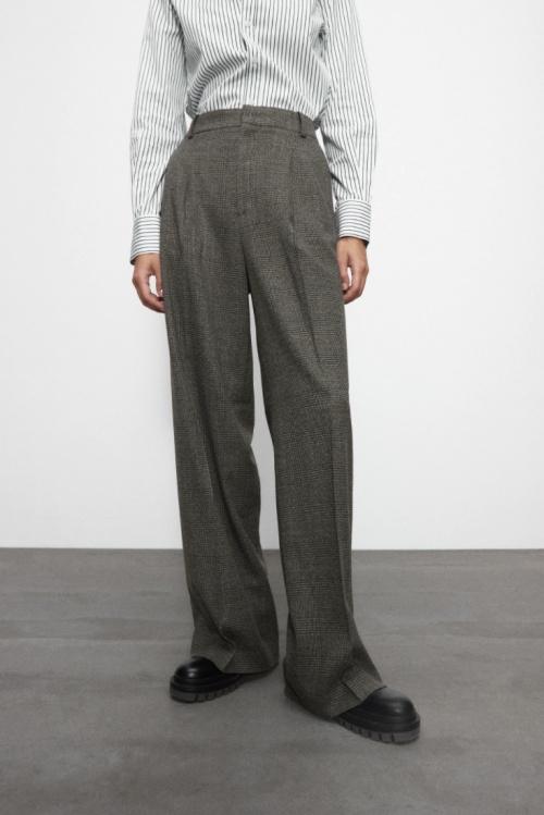 Zara - Pantalon large à carreaux