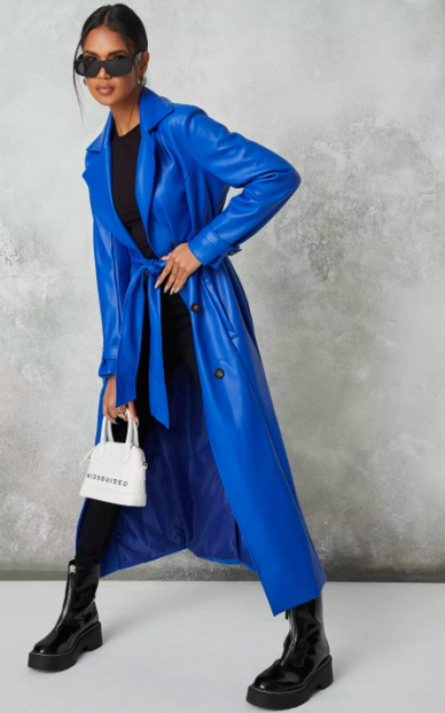 Missguided - Trench simili bleu