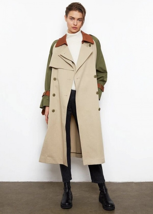 The Frankie Shop - Trench kaki et blanc