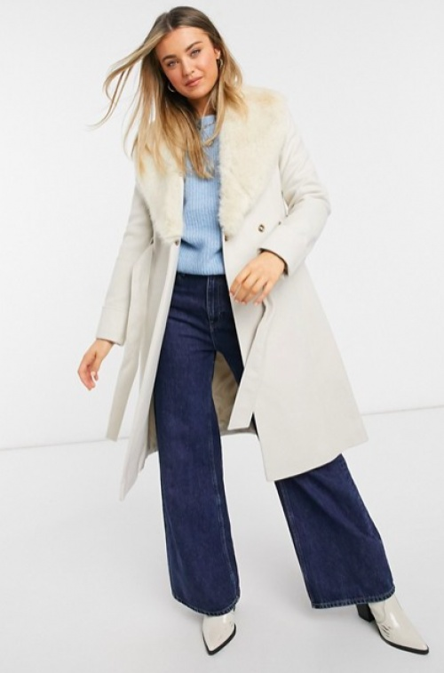 Miss Selfridge - Manteau fausse fourrure