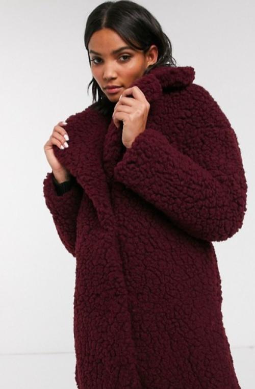 Topshop - Manteau imitation peau de mouton