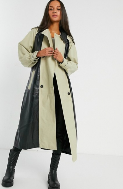 Asos DESIGN - Trench empiècement vinyle