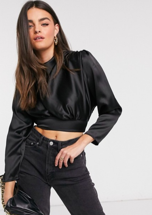Flounce London - Crop top avec épaulettes