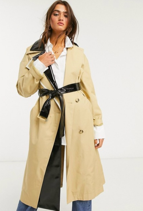 Topshop - Trench à empiècements vinyle