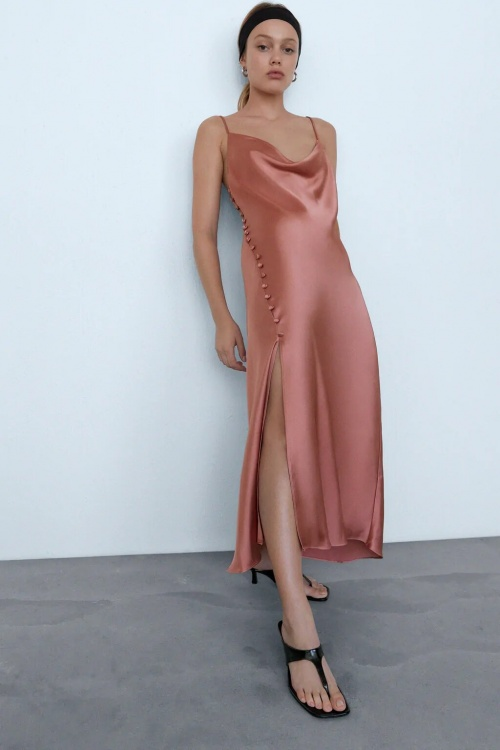 Zara - Robe satinée rose
