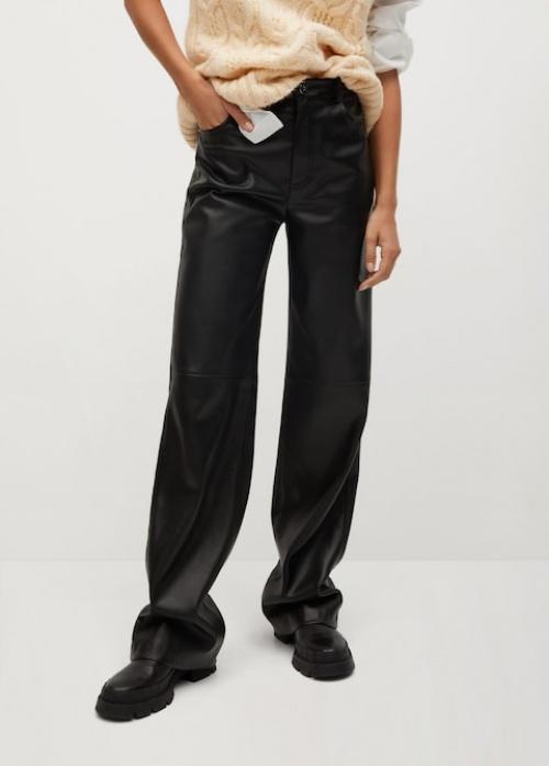 Mango - Pantalon droit similicuir