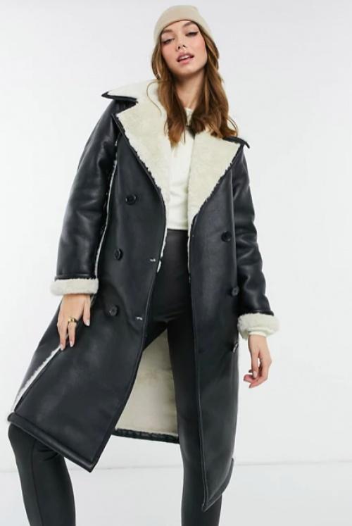 New Look - Manteau effet cuir