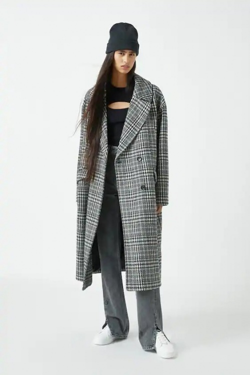 Pull&Bear - Manteau à carreaux