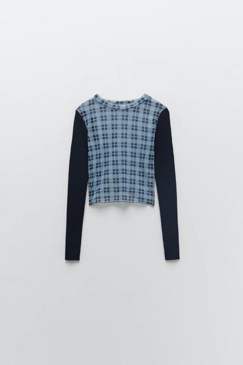 Zara - Pull en maille à carreaux