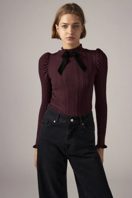 Zara - Pull en maille pointelle