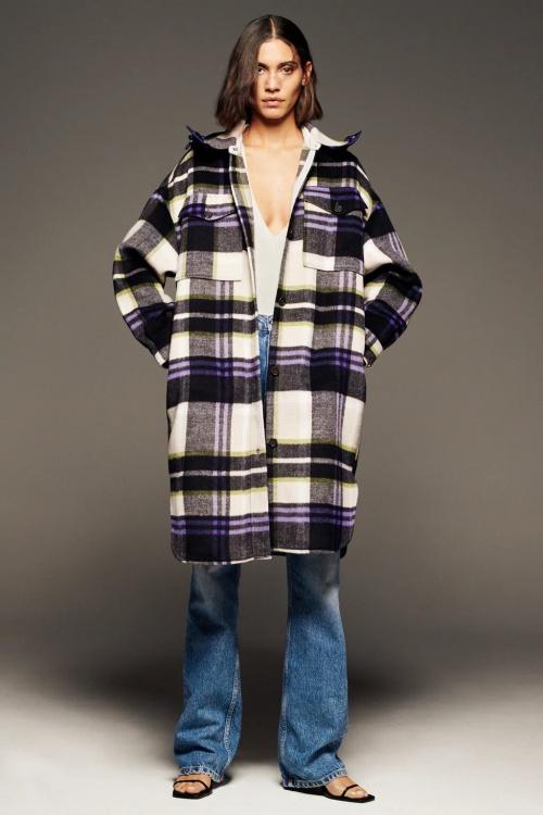 Zara - Surchemise à carreaux et capuche