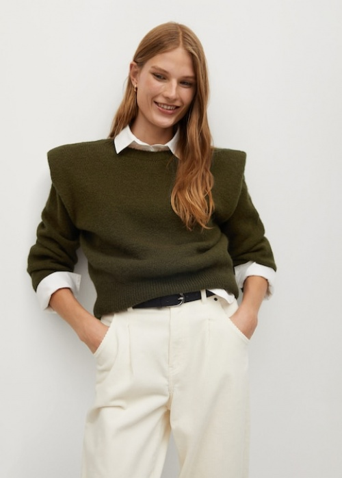 Mango - Pull-over maille épaulettes