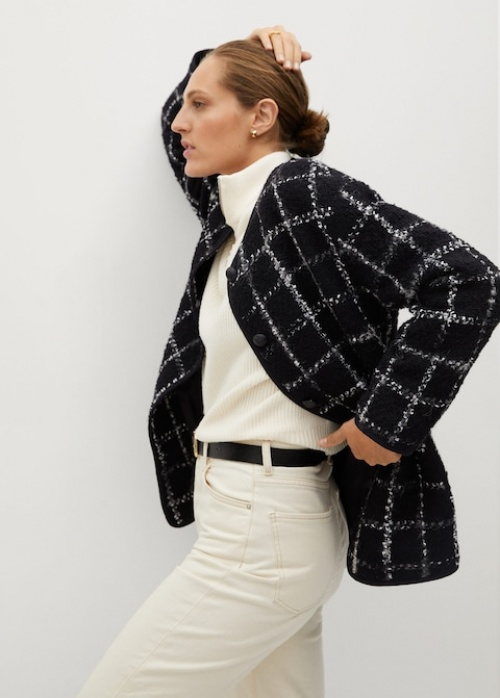 Mango - Veste tweed à carreaux