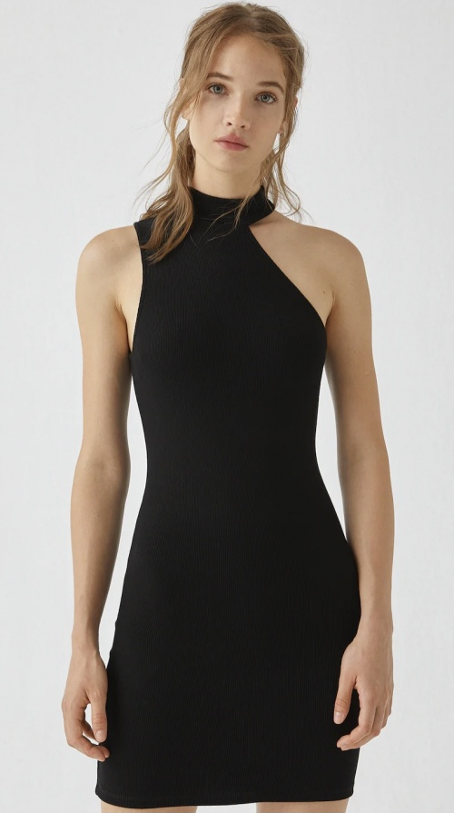 PULL&BEAR - Robe noire côtelée asymétrique