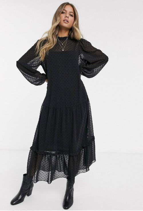 ASOS DESIGN - Robe longue à volants en tulle plumetis avec encolure haute