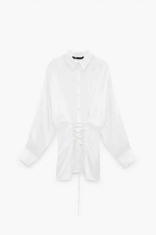 Zara - Chemise satinée avec laçage