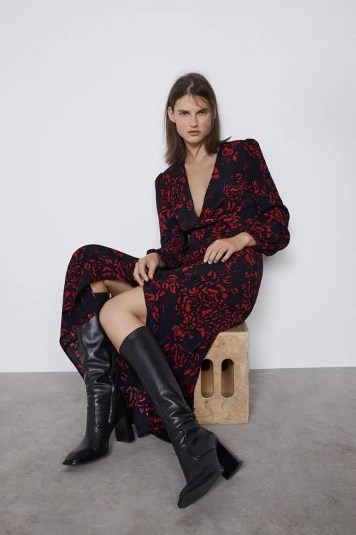 Zara - Robe mi-longue imprimée