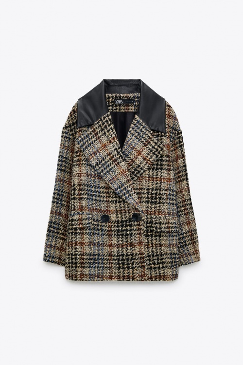 Zara - Veste à carreaux bimatière