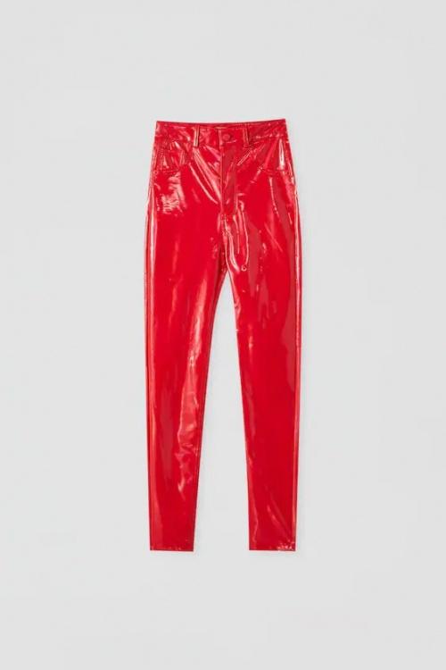 Pull & Bear - Pantalon vinyle rouge