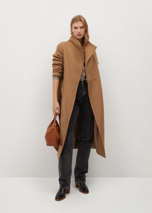 Mango - Manteau en laine avec ceinture