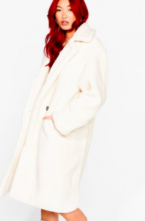 Nastygal - Manteau long teddybear