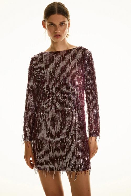 Zara - Robe à paillettes et à franges