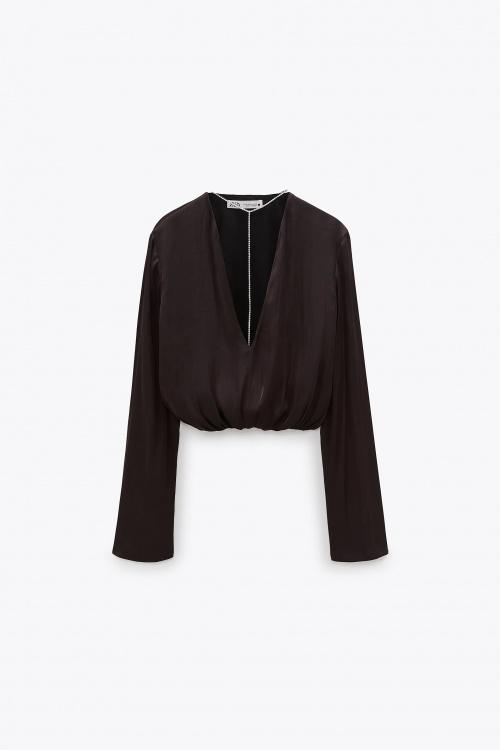 Zara - Top cropped avec bijou