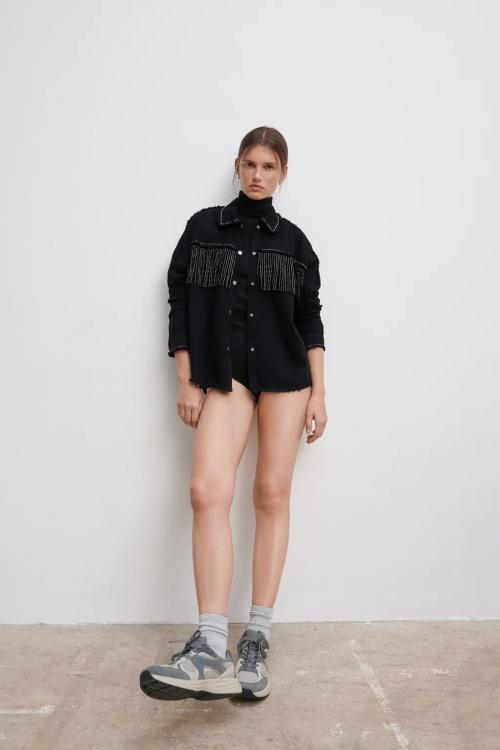 Zara - Veste à franges effet brillant