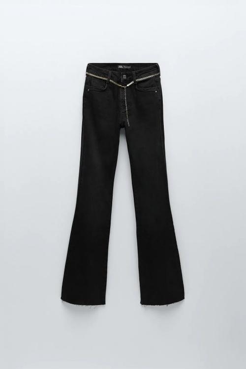 Zara - Jean flare taille haute avec ceinture