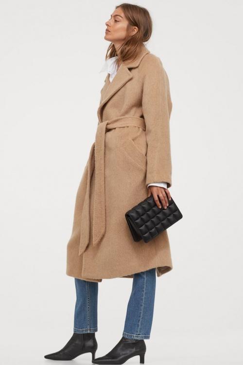 H&M - Manteau en laine avec ceinture