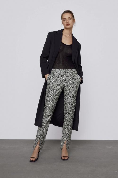 Zara - Pantalon imprimé similicuir