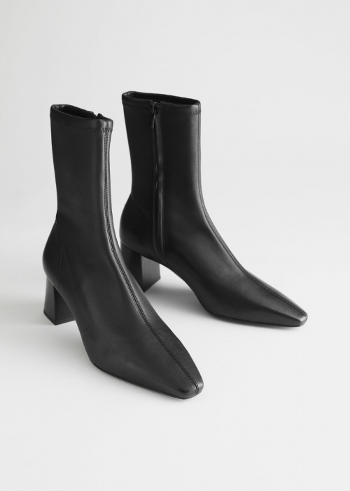 &Other Stories - Bottines Chaussettes cuir