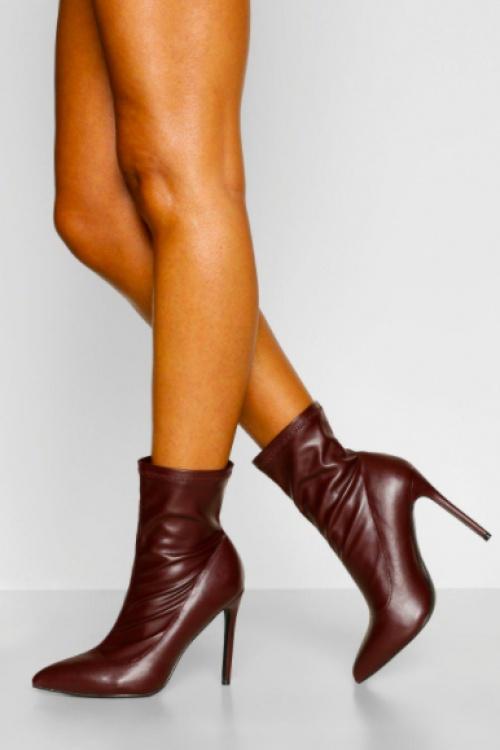 Bohoo  - Bottines chaussette effet cuir