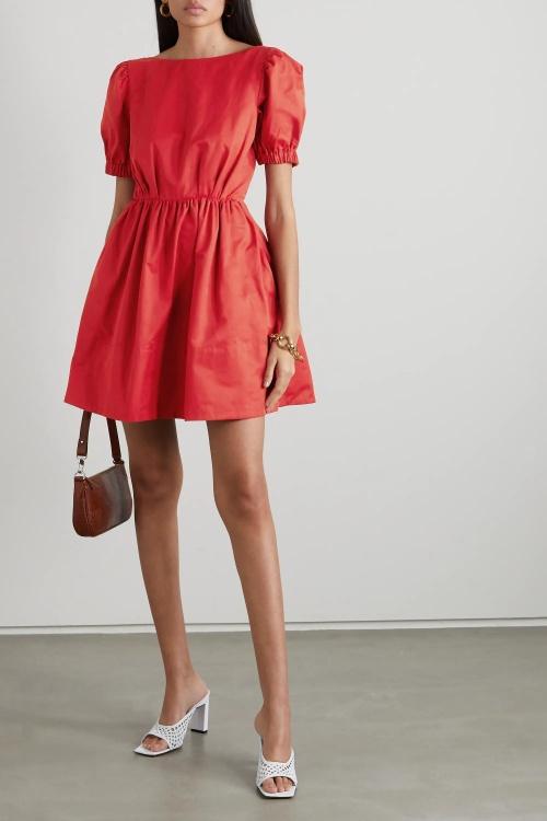 Staud - Mini robe manches bouffantes