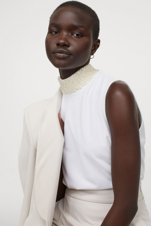 H&M - Top perlé