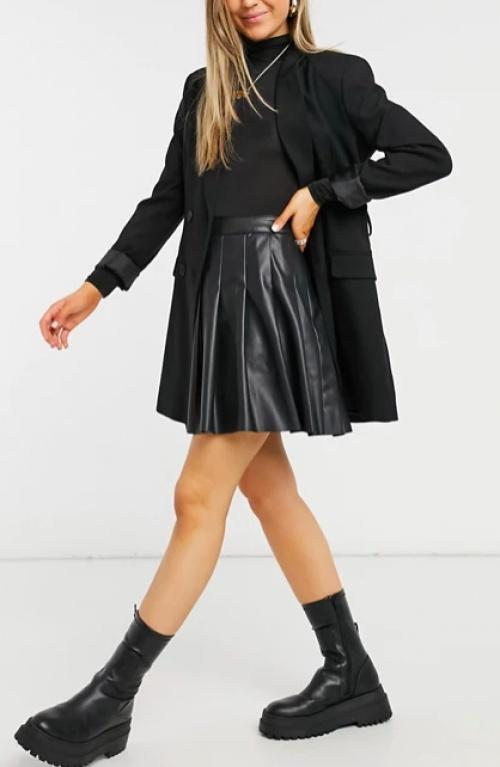 New Look - Jupe plissée simili