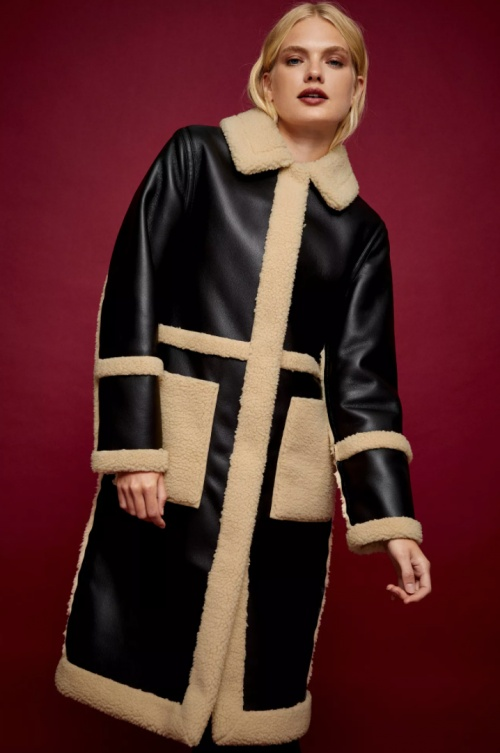 Topshop - Manteau en fausse fourrure