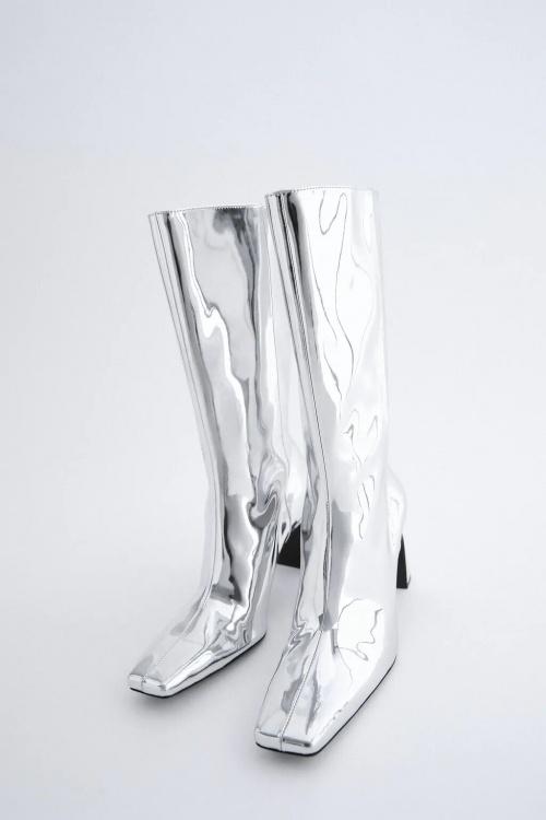 Zara - Bottines à talons métallisées