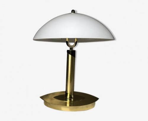 Selency - Lampe en laiton et opaline