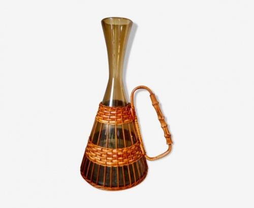 Selency - Vase en verre et osier