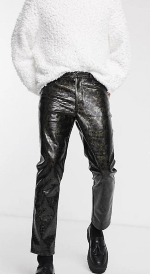 Asos EDITION - Pantalon vinyle effet croco