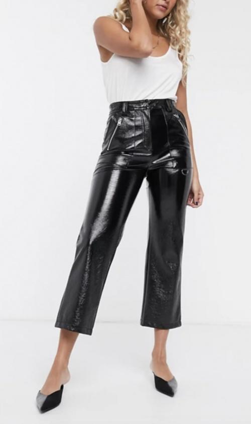 Topshop - Pantalon droit en vinyle