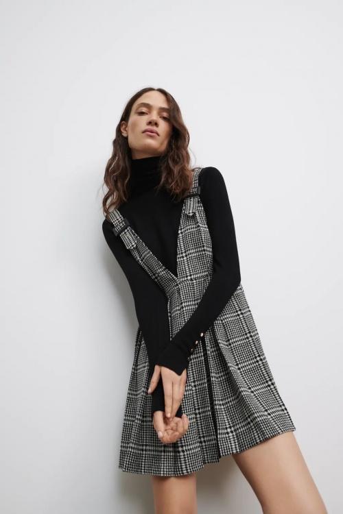 Zara - Robe salopette à carreaux